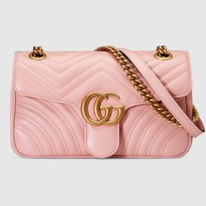 Gucci GG Marmont Small Chain Shoulder Bag in Matelassé Chevron Leather