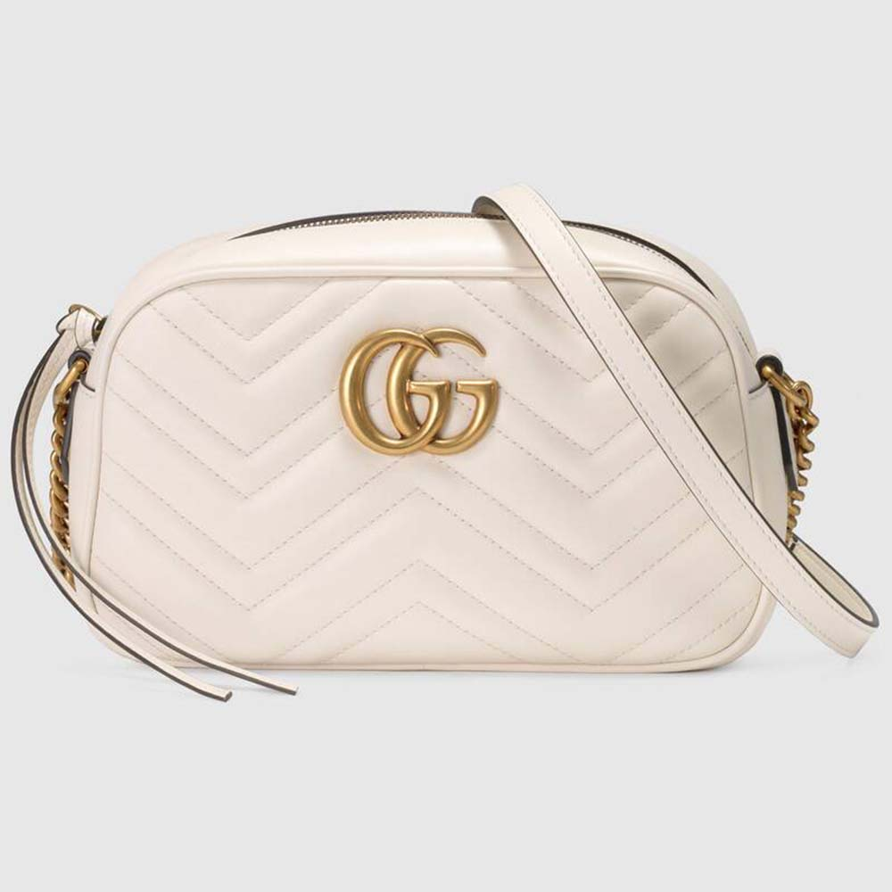 Gucci Black Quilted Leather GG Marmont Small Matelasse