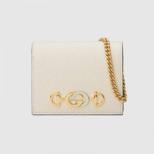 Gucci GG Women Gucci Zumi Grainy Leather Card Case Wallet-White