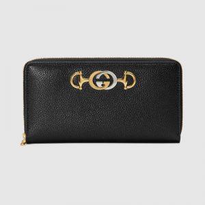 Gucci GG Unisex Gucci Zumi Grainy Leather Zip Around Wallet-Black