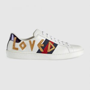 Gucci Unisex Ace Embroidered Leather Sneaker Shoes Style-White