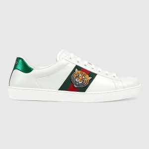 Gucci Men Ace Embroidered Sneaker Shoes with Tiger Web-White