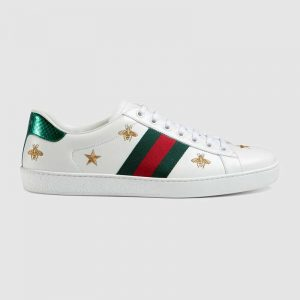 Gucci Men Ace Embroidered Sneaker Stars and Bees in White