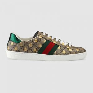 Gucci Men Ace GG Supreme Bees Sneaker-Brown