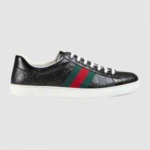 Gucci Men Ace Gucci Signature Sneaker with Web-Black