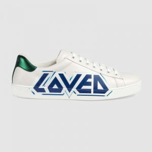 Gucci Men Ace Sneaker with Loved Print-White