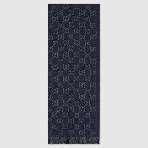 Gucci Men GG Jacquard Pattern Knit Scarf with Fringe