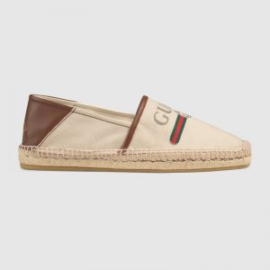 Gucci Men Gucci Logo Canvas Espadrille-Beige
