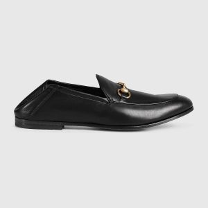 Gucci Men Horsebit Leather Loafer Shoes Black