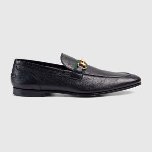 Gucci Men Horsebit Leather Loafer with Web Shoes Black