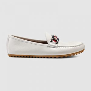 Gucci Men Leather Driver with Web-White