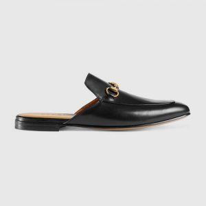 Gucci Men Leather Horsebit Slipper in 1.3 cm Heel Height-Black