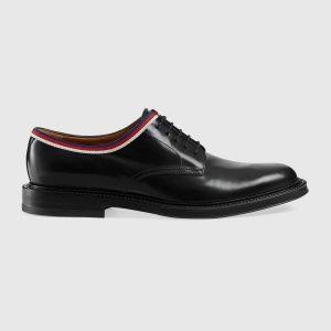 Gucci Men Leather Lace-up Shoes Black