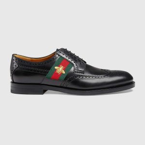 Gucci Men Leather Lace-up with Bee Web Shoes Black