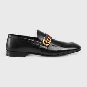 Gucci Men Leather Loafer with GG Web Shoes-Black