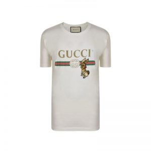 Gucci Men Oversize T-Shirt with Gucci Logo and Rabbit-Beige