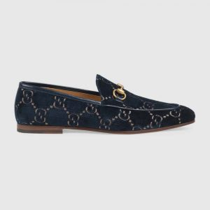 Gucci Men's Gucci Jordaan GG Velvet Loafer 1.3 cm Heel-Navy