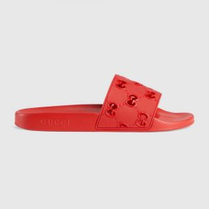 Gucci Men's Rubber GG Slide Sandal-Red