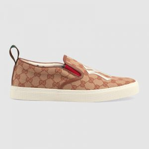 Gucci Men's Slip-On Sneaker with NY Yankees Patch Orange