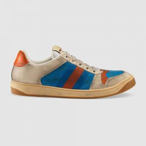 Gucci Men Screener Leather Sneaker 3.6cm Height-Blue