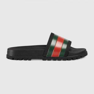 Gucci Men Web Slide Sandal-Black