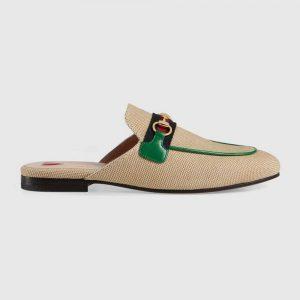 Gucci Online Exclusive Women's Princetown Canvas Slipper 1cm Heel-Sandy