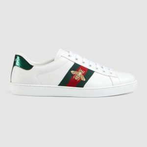 Gucci Unisex Ace Embroidered Sneaker with Iconic Gold Embroidered Bee-White