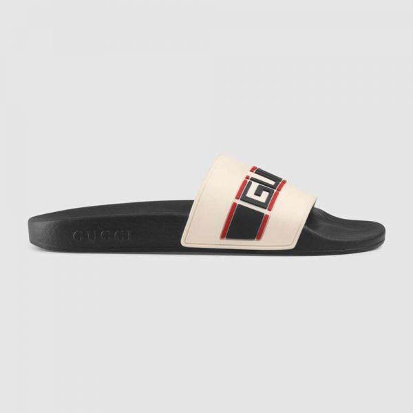 Gucci Unisex Gucci Stripe Rubber Slide Sandal 2cm Height-White