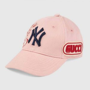 Gucci Women Baseball Cap with NY Yankees Patch-Pink