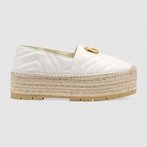 Gucci Women Chevron Leather Espadrille with Double G in 5.1 cm Height-White