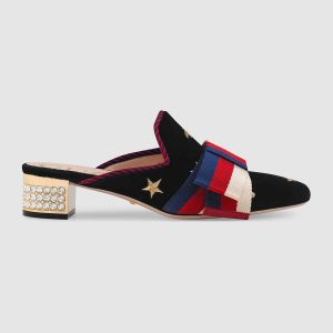 Gucci Women Embroidered Velvet Slide with Sylvie Bow Black