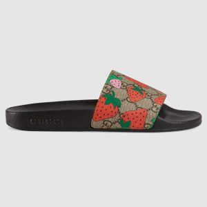 Gucci Women GG Gucci Strawberry Slide Sandal-Red