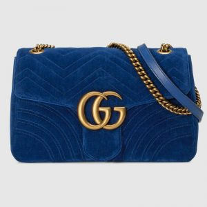 Gucci Women GG Marmont Medium Velvet Shoulder Bag
