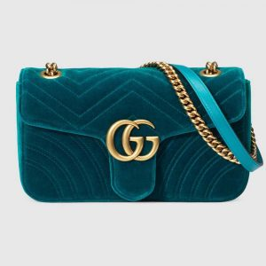 Gucci Women GG Marmont Velvet Shoulder Bag