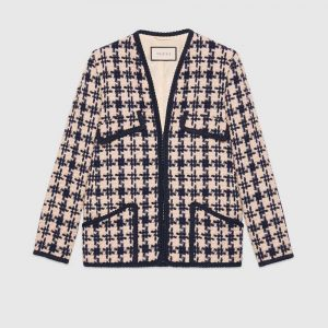 Gucci Women Houndstooth V-Neck Jacket
