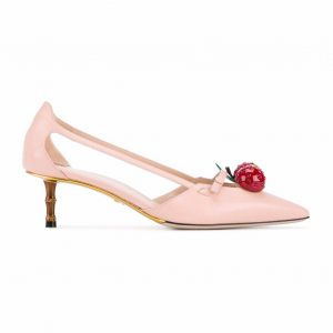Gucci Women Leather Cherry Pump Shoes-Pink