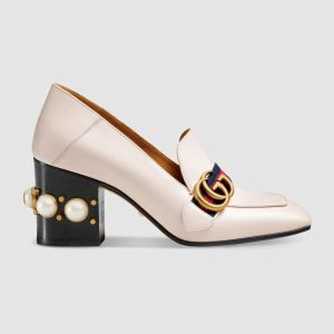 "Gucci Women Leather Mid-Heel Loafer 3"" Heel-White"