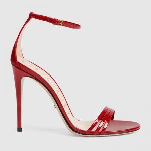 Gucci Women Patent Leather Sandal 11.4cm Thin Heel-Red