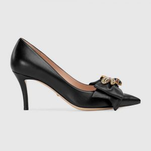 Gucci Women Shoes Leather Mid-Heel Pump with Bow 75mm Heel-Black