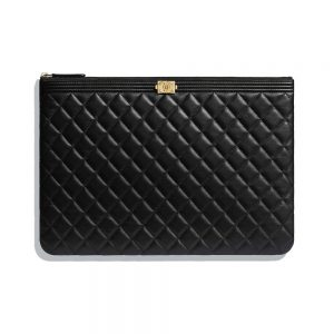 Chanel Unisex Boy Chanel Large Pouch in Lambskin Leather-Black