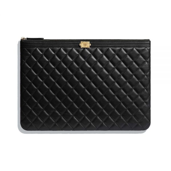 Chanel Unisex Boy Chanel Large Pouch in Lambskin Leather-Black
