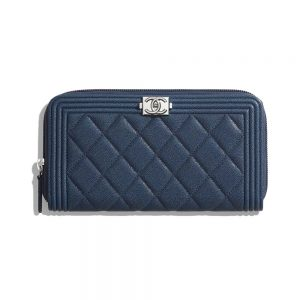 Chanel Unisex Boy Chanel Long Zipped Wallet in Grained Calfskin Leather-Navy