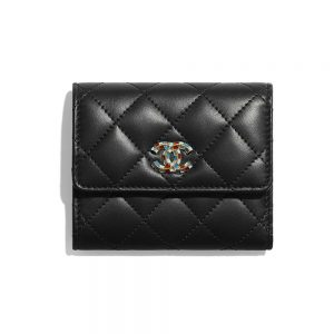Chanel Unisex Small Flap Wallet in Lambskin Leather-Black