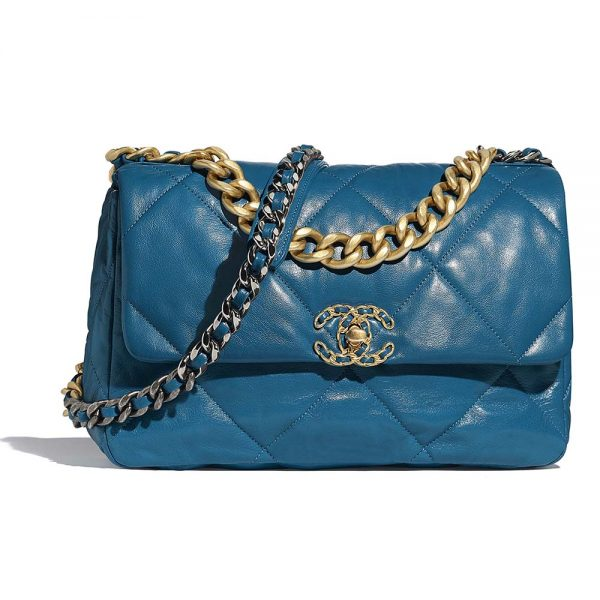 Chanel Women 19 Large Flap Bag in Goatskin Leather-Blue