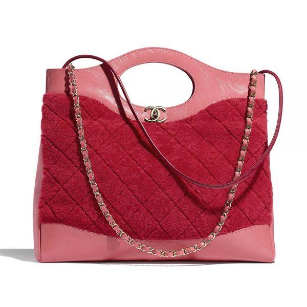 Chanel Women 31 Shopping Bag in Shearling Sheepskin and Calfskin Leather-Red