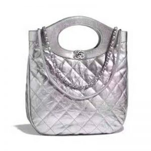 Chanel Women 31 Small Shopping Bag in Aged Calfskin Leather-Silver