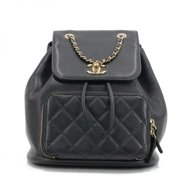 Chanel Women Backpack in Embossed Grained Calfskin Leather-Black
