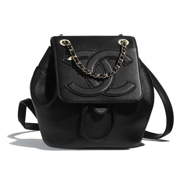 Chanel Women Backpack in Lambskin Leather-Black