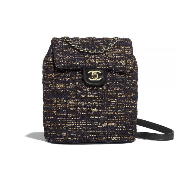 Chanel Women Backpack in Tweed Fabrics-Black and Gold