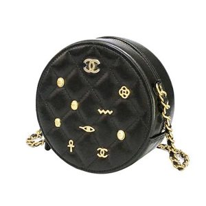 Chanel Women Badge Small Round Crossbody Shoulder Bag in Calfskin Leather-Black